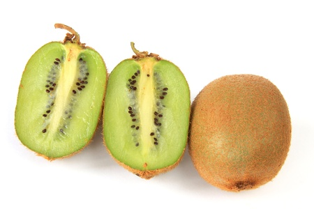 Kiwifruits  Actinidia deliciosa  isolated in front of white background photo