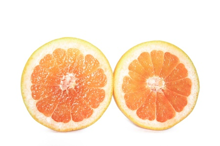 citrus family: Halved Grapefruit isolated on white background  Citrus x aurantium  Citrus paradisi