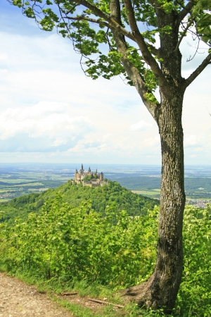 View from the top of Zeller Horn to Hohenzollern Castle in the Swabian Alb, Baden-Wuerttemberg, Germany photo