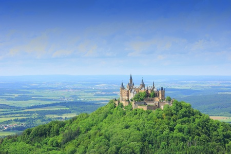 View from the top of Zeller Horn to Hohenzollern Castle in the Swabian Alb, Baden-Wuerttemberg, Germany
