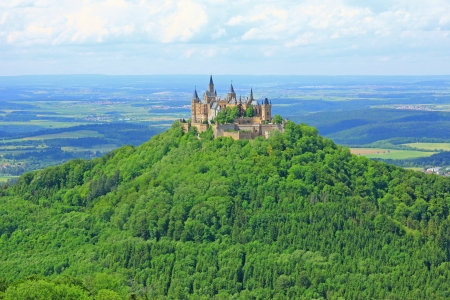 swabian: View from the top of Zeller Horn to Hohenzollern Castle in the Swabian Alb, Baden-Wuerttemberg, Germany Editorial