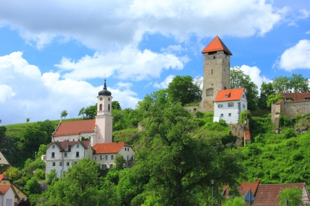 Rechtenstein in the Danube Valley with the medieval tower of the former castle, Germany