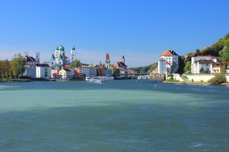 Passau, at the confluence of three rivers Inn, Danube and Ilz, Bavaria, Germany photo