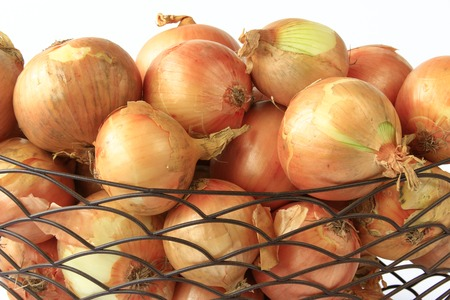 close up of onions in a basket: Many onions in a wire basket