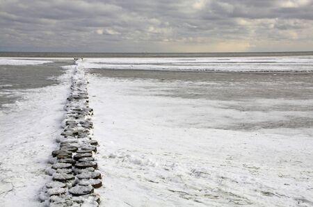 groyne: Winter at the Baltic Sea, Mecklenburg-West Pomerania Germany