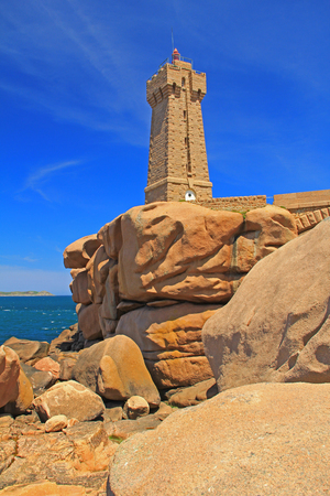 ploumanach: The lighthouse of Ploumanach, Brittany, France