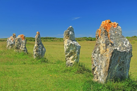 nger: Alignments de Lagatjar, Paleolithic stone rows in the department of Finistere, Brittany, France Stock Photo