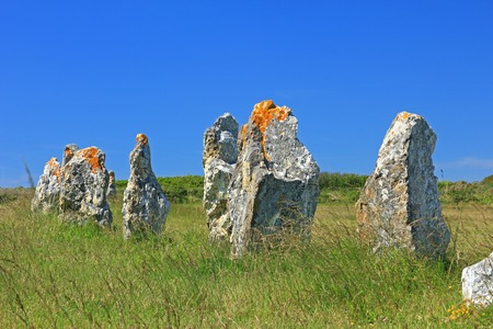 alignments: Alignments de Lagatjar, Paleolithic stone rows in the department of Finistere, Brittany, France Stock Photo