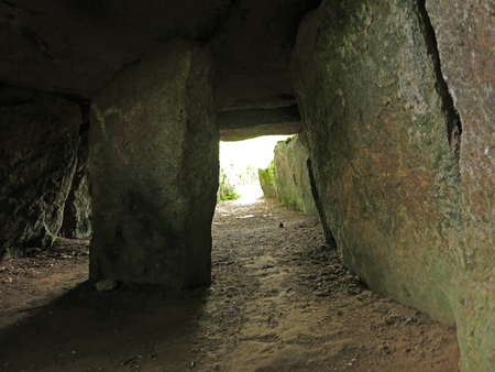 tumulus: Dolmen Ti Ar Boutiged (Breton: The House of the Fairies) in Brennilis, Finistere, Brittany, France - around 3000 BC..