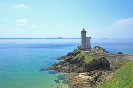 "Lighthouse  ""Phare du Petit Minou "" at the roadstead of Brest, Finistere, Brittany, France"