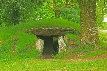 tumulus: Dolmen \ Ti Ar Boutiged \ (Breton: \ The House of the Fairies \) in Brennilis, Finistere, Brittany, France - around 3000 BC .. Editorial