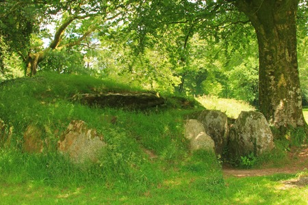 ar: Dolmen \ Ti Ar Boutiged \ (Breton: \ The House of the Fairies \) in Brennilis, Finistere, Brittany, France - around 3000 BC .. Editorial