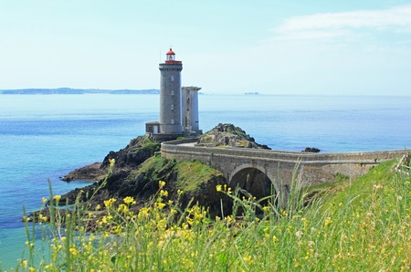 Lighthouse Phare du Petit Minou at the roadstead of Brest, Finistere, Brittany, France Stock Photo