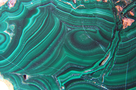 mineralogy: Malachite in front of white background, carbonate with the chemical formula Cu2 [(OH) 2 | CO3] Stock Photo