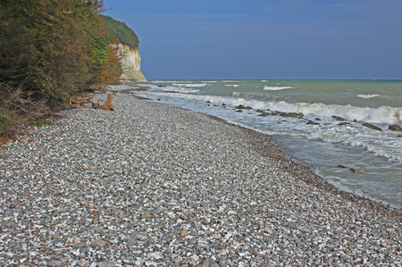 coastal erosion: white cliffs of Rugen Island, Mecklenburg-West Pomerania, Germany - Baltic Sea