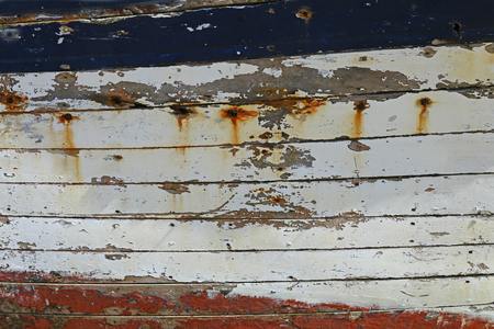 shipwreck: weathered wooden planks of a shipwreck