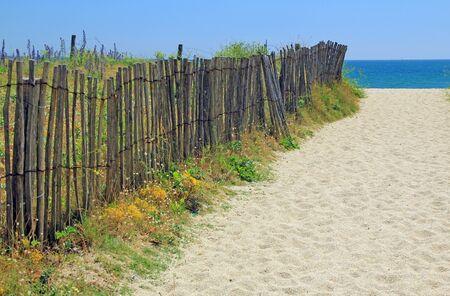 atlantic ocean: Beach access on the Atlantic Ocean in Brittany, France