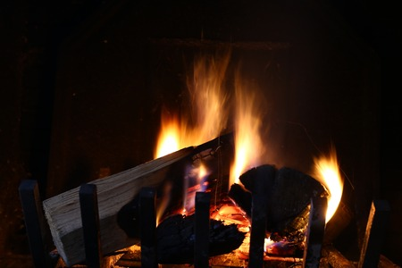 woodfire: Fire in a chimney Stock Photo