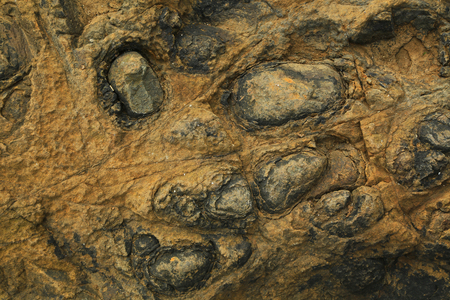 inclusions: Texture of rocks with bulbous deposits as background