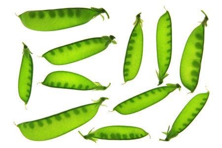 Sugar peas (Pisum sativum) pods isolated against white backgroun Stock Photo