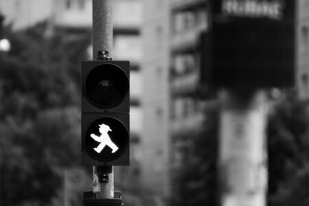 Berlin traffic light male in black and white