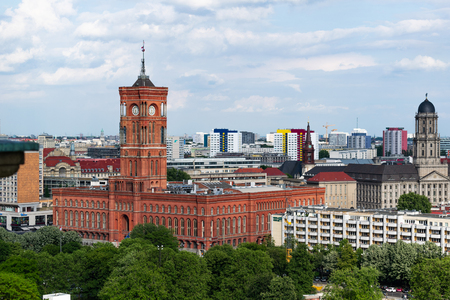 Berlin city view with blue sky