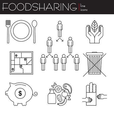 sharing food: Foodsharing. Line icons. Logotype. Logo. Sharing food. Vector illustration.