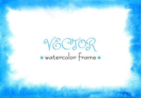 ombre: Blue watercolor frame with soft edges. watercolour ombre hand painted texture Illustration