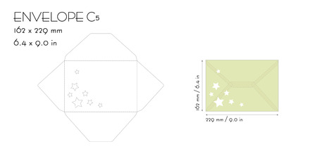 Envelope c5 template vector die cut. Wedding invitation envelope for cutting machine of laser cutting. Envelope mockup with stars. Invitation envelope C5. Envelope template for laser cutting.