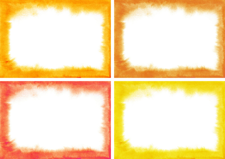 fire surround: Set red watercolor frames with soft edges. Purple, cherry, red, wine, yellow, Orange texture. Perfect for design works on the theme of love, passion, blood.Watercolour Ombre. Hand painted watercolor texture. Watercolour wash.