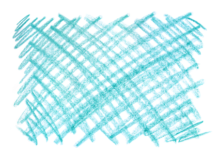 Crayon scribble background. Blue pastel crayon spot. Wax crayon texture. Backdrop with scratches and dots. Pencil Brush. Hand painted aquamarine grunge chalk. Stock Photo