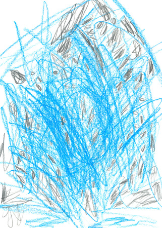 child drawing 4 years texture wax pencils blue and black child