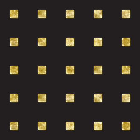 Vector abstract hand drawn illustration. Golden squares on black.pattern, design element with gold rectangles.