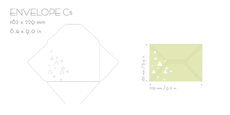 Envelope c5 template vector die cut. Wedding invitation envelope for cutting machine of laser cutting. Envelope mockup with triangle. Illustration