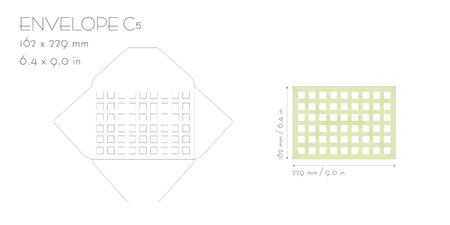 Envelope c5 template vector die cut. Wedding invitation envelope for cutting machine of laser cutting. Envelope mockup with square.