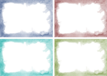 virid: Watercolor set frames. Green, wine red, blue, dark blue frame. Muted tones. Watercolor frame with soft edges. Abstract texture, design element. Art advertising template. Grunge color frame.  Stock Photo