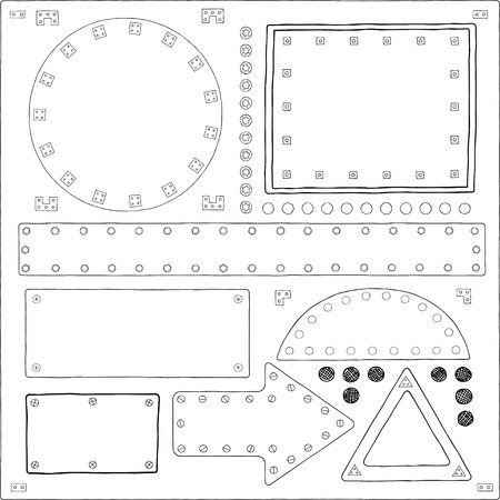 fasteners: Signboards Plate with Nails Sketch Vector Set. Hand drawn illustration, black and white, sketch style, isolated on white background.