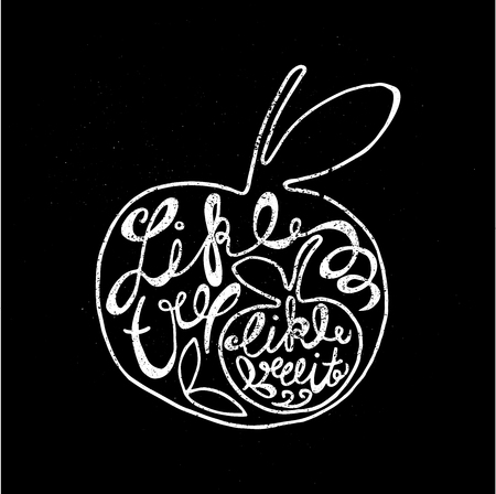 appletree: Like tree, like fruit. hand drawn lettering poster. Vector hand drawn typography concept. T-shirt design or home decor element.