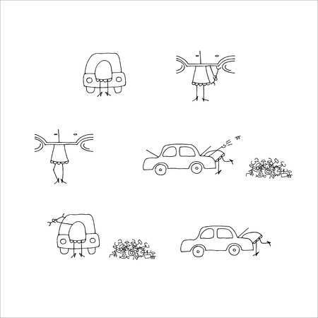 cowl: The girl repairs the car. Isolated on white. Doodle style.