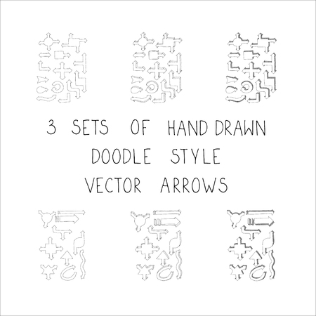 3 sets of hand drawn doodle style vector volume arrows. Helpful elements for infographic in business, research or account.