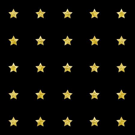 Patroon. Gouden aquarel. Sterren op een zwarte achtergrond. Vector hand getekende afbeelding. Stock Illustratie