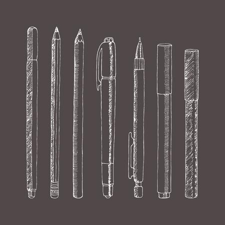Vectorschets van potloden en pennen. Hand getrokken illustratie. Verzameling in doodle stijl. Stock Illustratie