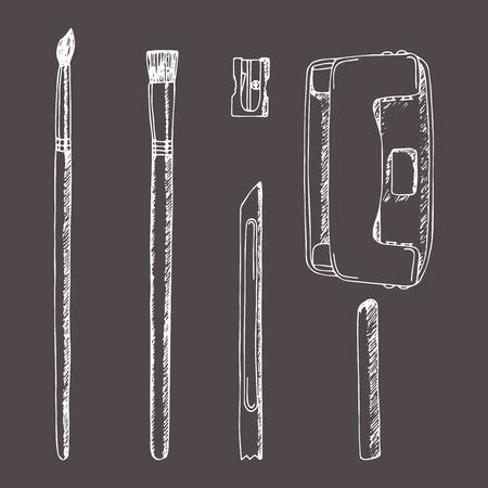 Vectorreeks punten van de schetskantoorbehoeften met de hand gemaakt in schetsstijl. Borstel, puntenslijper, perforator, perforatie, plasticine, waspotlood. Schoolspullen. Briefpapier mock-up. Retro ontwerp. Vintage-stijl.