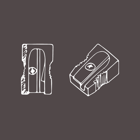 Pencil sharpener isolated. Vector hand drawn illustration in a sketch style. Doodle.