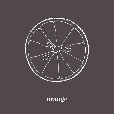 Oranje plak hand getrokken schets. Geïsoleerde vectorillustratie. Vintage-stijl.