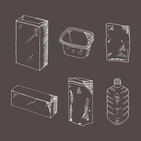 Product verpakking gravure vector set. Mock up sjabloon eten en drinken verpakking. Hand getrokken schets, doodle. Lege voorwerpen plastic dozen, blikken en flessen, karton en document pakket. Stock Illustratie