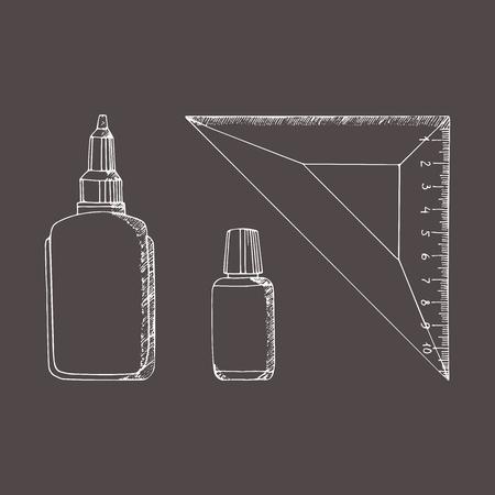 Briefpapier in schetsstijl. Vector illustratie set. Hand getrokken doodle. Lijm, liniaal, strich. Stock Illustratie
