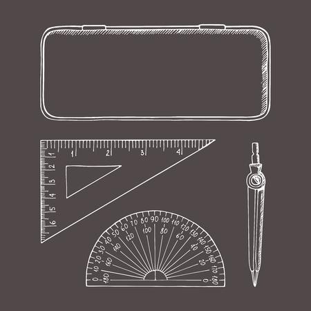 Briefpapier in schetsstijl. Vector illustratie set. Hand getrokken doodle. Kompassen, doos, liniaal, gradenboog. Stock Illustratie