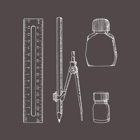 Briefpapier in schetsstijl. Vector illustratie set. Hand getrokken doodle. Kompas, liniaal, potlood, inkt, verf.