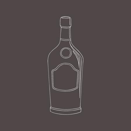 Vector hand getrokken schetsen container voor drank. Een fles cognac.